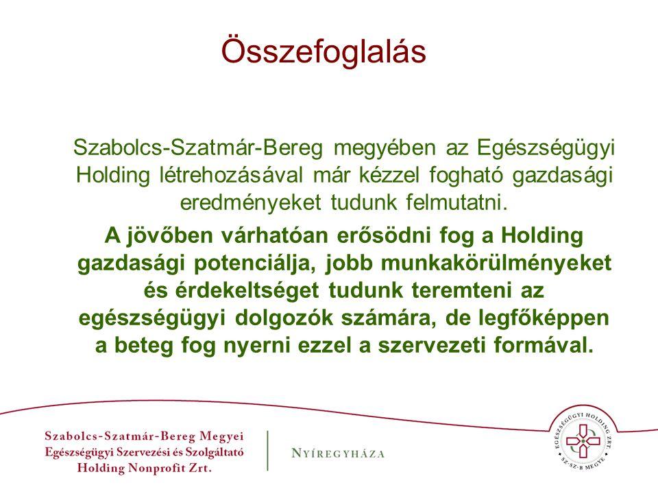 Összefoglalás Szabolcs-Szatmár-Bereg megyében az Egészségügyi Holding létrehozásával már kézzel fogható gazdasági eredményeket tudunk felmutatni. A jö