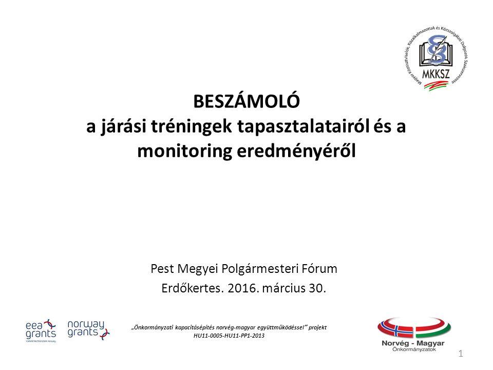 BESZÁMOLÓ a járási tréningek tapasztalatairól és a monitoring eredményéről Pest Megyei Polgármesteri Fórum Erdőkertes.