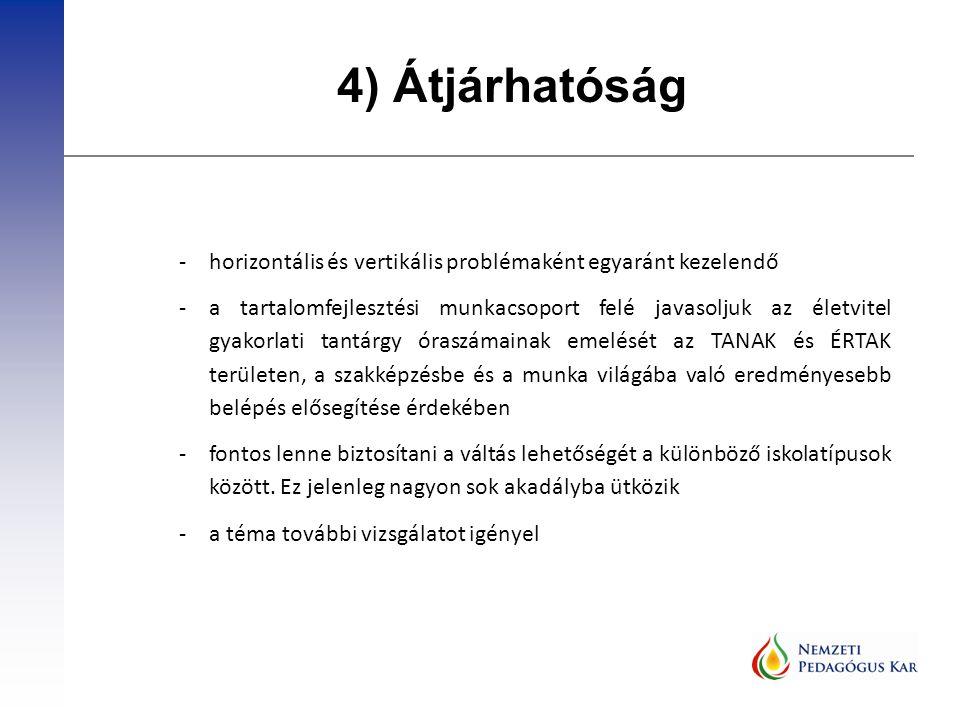 4) Átjárhatóság -horizontális és vertikális problémaként egyaránt kezelendő -a tartalomfejlesztési munkacsoport felé javasoljuk az életvitel gyakorlati tantárgy óraszámainak emelését az TANAK és ÉRTAK területen, a szakképzésbe és a munka világába való eredményesebb belépés elősegítése érdekében -fontos lenne biztosítani a váltás lehetőségét a különböző iskolatípusok között.