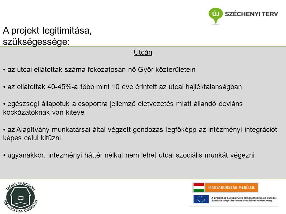 Utcán az utcai ellátottak száma fokozatosan nő Győr közterületein az ellátottak 40-45%-a több mint 10 éve érintett az utcai hajléktalanságban egészségi állapotuk a csoportra jellemző életvezetés miatt állandó deviáns kockázatoknak van kitéve az Alapítvány munkatársai által végzett gondozás legfőképp az intézményi integrációt képes célul kitűzni ugyanakkor: intézményi háttér nélkül nem lehet utcai szociális munkát végezni A projekt legitimitása, szükségessége: