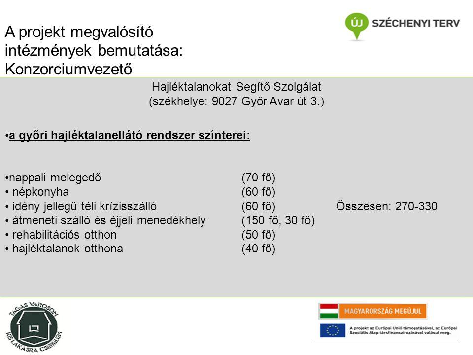 Hajléktalanokat Segítő Szolgálat (székhelye: 9027 Győr Avar út 3.) a győri hajléktalanellátó rendszer színterei: nappali melegedő (70 fő) népkonyha (60 fő) idény jellegű téli krízisszálló (60 fő)Összesen: 270-330 átmeneti szálló és éjjeli menedékhely (150 fő, 30 fő) rehabilitációs otthon (50 fő) hajléktalanok otthona(40 fő) A projekt megvalósító intézmények bemutatása: Konzorciumvezető