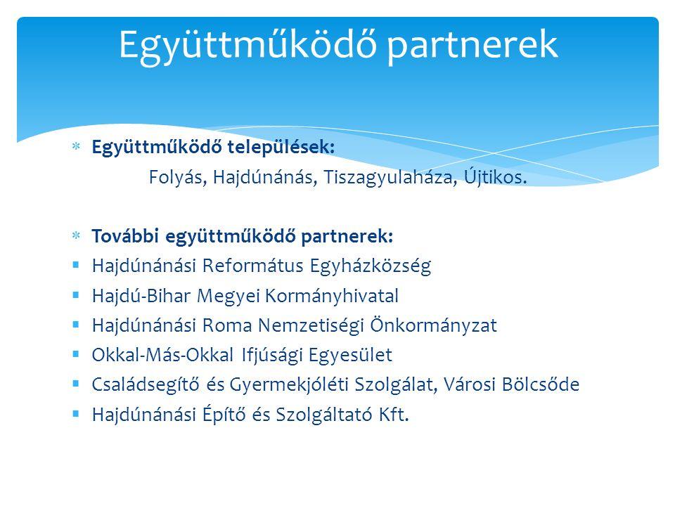  Együttműködő települések: Folyás, Hajdúnánás, Tiszagyulaháza, Újtikos.  További együttműködő partnerek:  Hajdúnánási Református Egyházközség  Haj