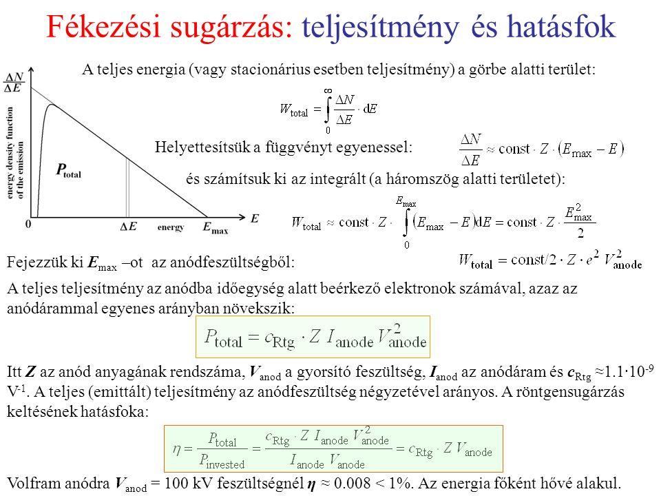 Fékezési sugárzás: teljesítmény és hatásfok A teljes energia (vagy stacionárius esetben teljesítmény) a görbe alatti terület: Helyettesítsük a függvényt egyenessel: és számítsuk ki az integrált (a háromszög alatti területet): Fejezzük ki E max –ot az anódfeszültségből: A teljes teljesítmény az anódba időegység alatt beérkező elektronok számával, azaz az anódárammal egyenes arányban növekszik: Itt Z az anód anyagának rendszáma, V anod a gyorsító feszültség, I anod az anódáram és c Rtg ≈1.1·10 -9 V -1.