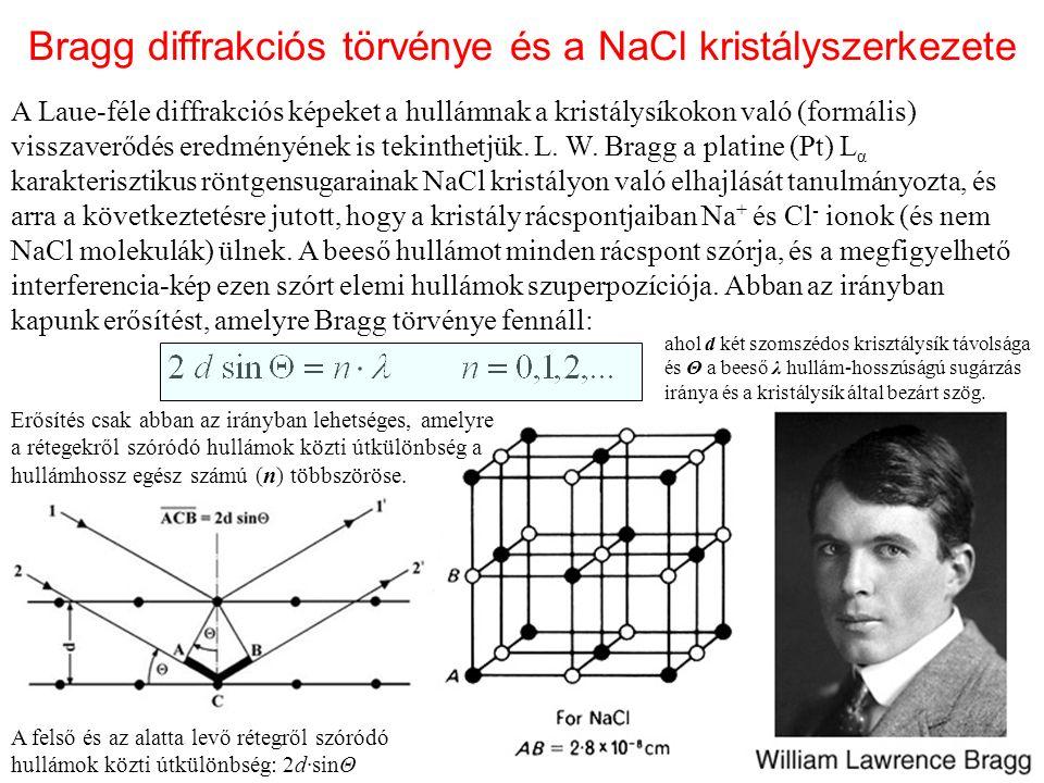 Bragg diffrakciós törvénye és a NaCl kristályszerkezete A Laue-féle diffrakciós képeket a hullámnak a kristálysíkokon való (formális) visszaverődés eredményének is tekinthetjük.