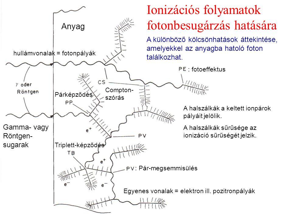 Ionizációs folyamatok fotonbesugárzás hatására hullámvonalak = fotonpályák Egyenes vonalak = elektron ill.