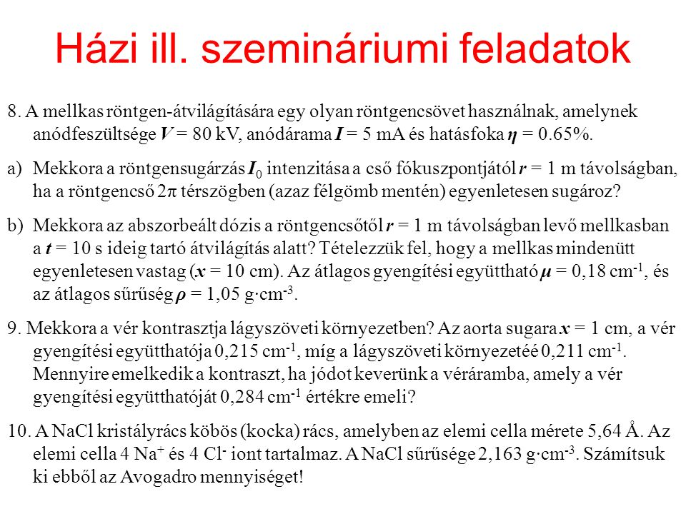 Házi ill. szemináriumi feladatok 8.