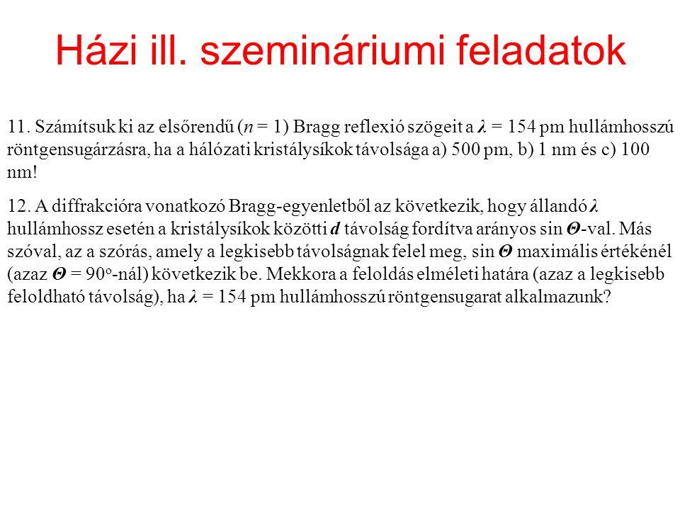 Házi ill. szemináriumi feladatok 11.