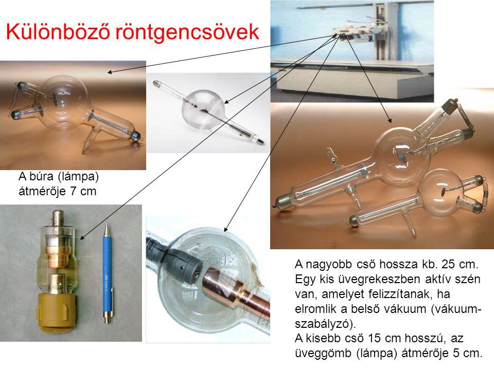 Különböző röntgencsövek A nagyobb cső hossza kb. 25 cm.