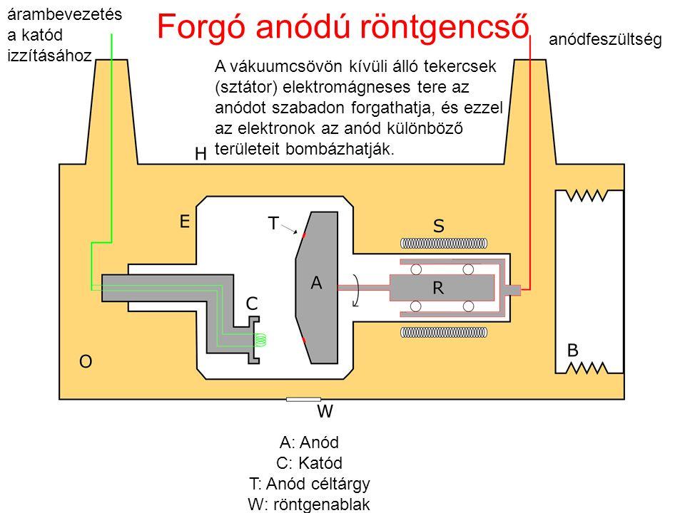 A: Anód C: Katód T: Anód céltárgy W: röntgenablak Forgó anódú röntgencső A vákuumcsövön kívüli álló tekercsek (sztátor) elektromágneses tere az anódot szabadon forgathatja, és ezzel az elektronok az anód különböző területeit bombázhatják.