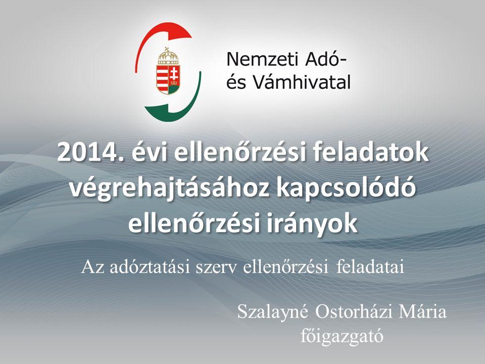 2014. évi ellenőrzési feladatok végrehajtásához kapcsolódó ellenőrzési irányok Az adóztatási szerv ellenőrzési feladatai Szalayné Ostorházi Mária főig