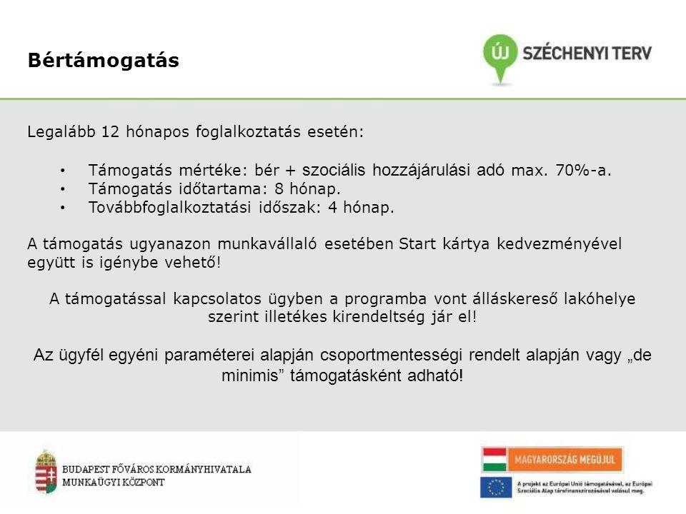 Bértámogatás Legalább 12 hónapos foglalkoztatás esetén: Támogatás mértéke: bér + szociális hozzájárulási adó max.
