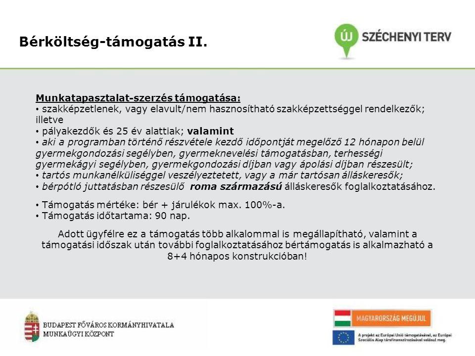 Bérköltség-támogatás II. Munkatapasztalat-szerzés támogatása: szakképzetlenek, vagy elavult/nem hasznosítható szakképzettséggel rendelkezők; illetve p