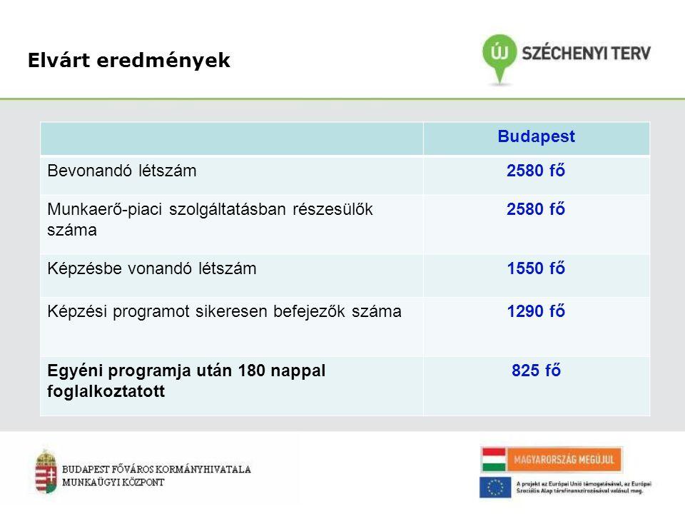 Elvárt eredmények Budapest Bevonandó létszám2580 fő Munkaerő-piaci szolgáltatásban részesülők száma 2580 fő Képzésbe vonandó létszám1550 fő Képzési programot sikeresen befejezők száma1290 fő Egyéni programja után 180 nappal foglalkoztatott 825 fő