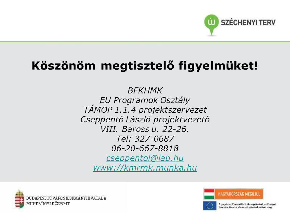 Köszönöm megtisztelő figyelmüket! BFKHMK EU Programok Osztály TÁMOP 1.1.4 projektszervezet Cseppentő László projektvezető VIII. Baross u. 22-26. Tel: