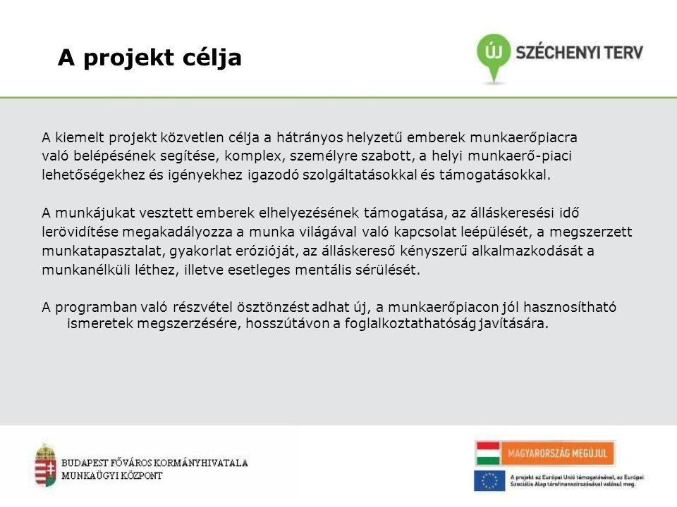 A projekt célja A kiemelt projekt közvetlen célja a hátrányos helyzetű emberek munkaerőpiacra való belépésének segítése, komplex, személyre szabott, a