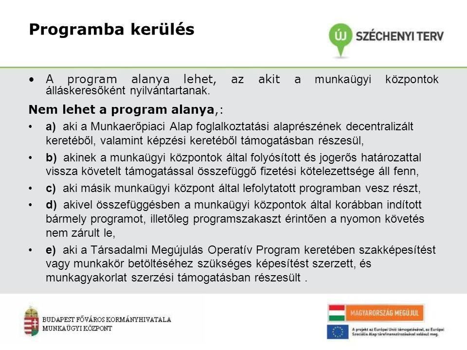 Programba kerülés A program alanya lehet, az akit a munkaügyi központok álláskeresőként nyilvántartanak. Nem lehet a program alanya,: a) aki a Munkaer