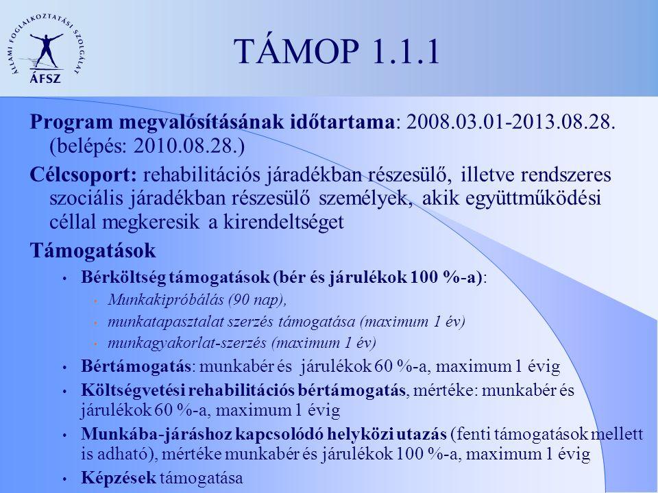 TÁMOP 1.1.1 Program megvalósításának időtartama: 2008.03.01-2013.08.28.