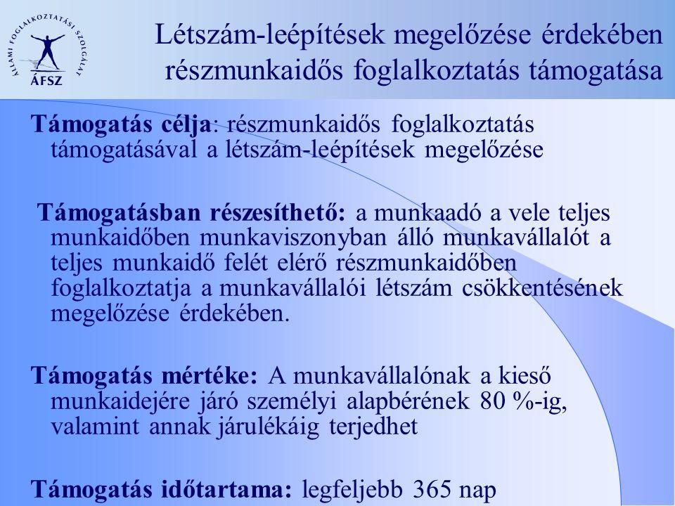 Létszám-leépítések megelőzése érdekében részmunkaidős foglalkoztatás támogatása Támogatás célja: részmunkaidős foglalkoztatás támogatásával a létszám-leépítések megelőzése Támogatásban részesíthető: a munkaadó a vele teljes munkaidőben munkaviszonyban álló munkavállalót a teljes munkaidő felét elérő részmunkaidőben foglalkoztatja a munkavállalói létszám csökkentésének megelőzése érdekében.