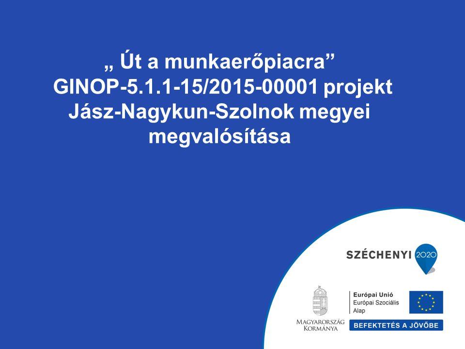 """"""" Út a munkaerőpiacra"""" GINOP-5.1.1-15/2015-00001 projekt Jász-Nagykun-Szolnok megyei megvalósítása"""