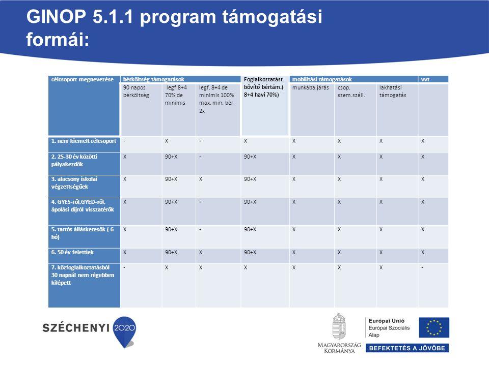 GINOP 5.1.1 program támogatási formái: célcsoport megnevezésebérköltség támogatások Foglalkoztatást bővítő bértám.( 8+4 havi 70%) mobilitási támogatás