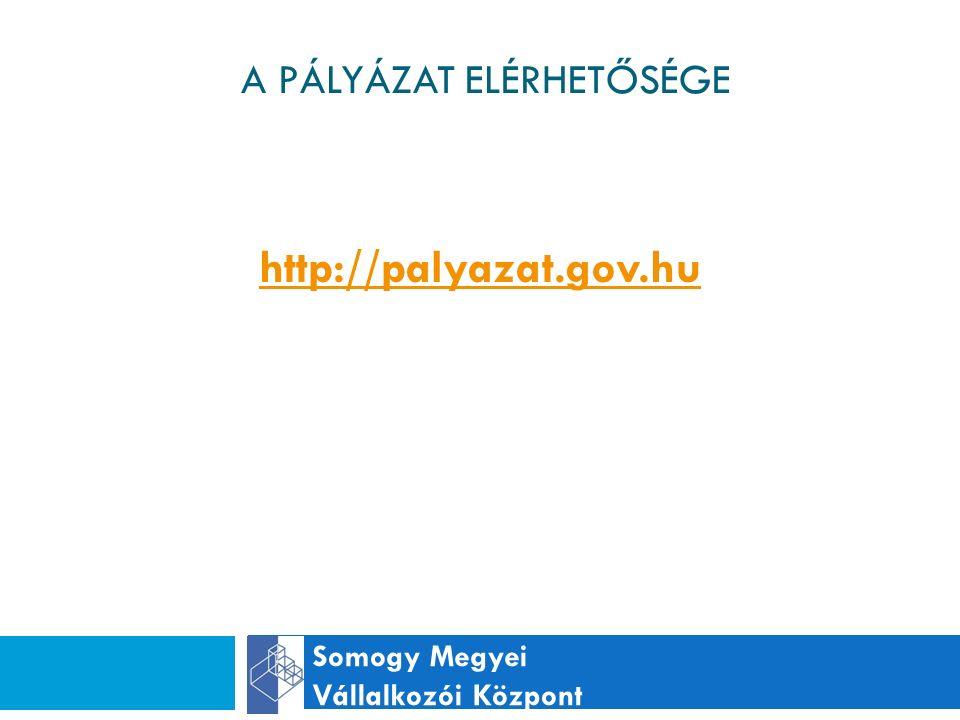 A PÁLYÁZAT ELÉRHETŐSÉGE Somogy Megyei Vállalkozói Központ http://palyazat.gov.hu
