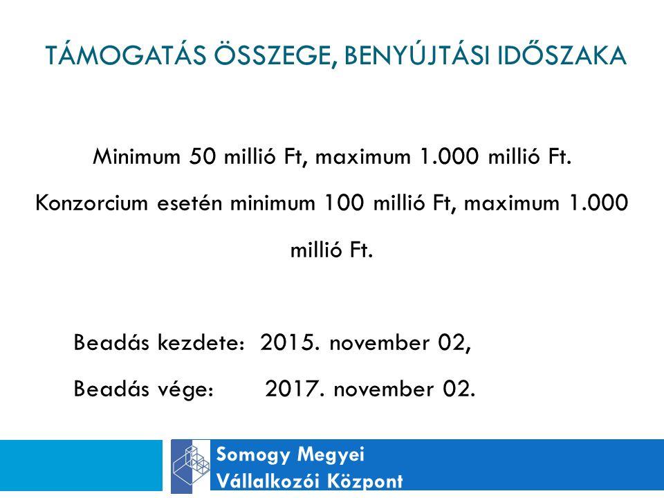 TÁMOGATÁS ÖSSZEGE, BENYÚJTÁSI IDŐSZAKA Somogy Megyei Vállalkozói Központ Minimum 50 millió Ft, maximum 1.000 millió Ft.
