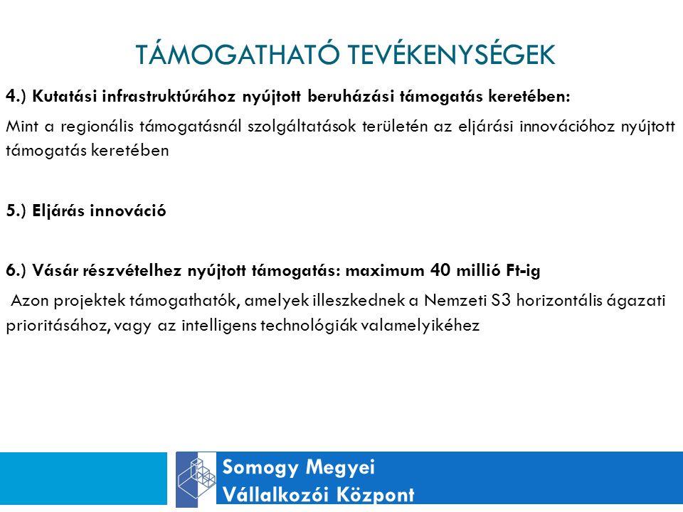 TÁMOGATHATÓ TEVÉKENYSÉGEK Somogy Megyei Vállalkozói Központ 4.) Kutatási infrastruktúrához nyújtott beruházási támogatás keretében: Mint a regionális támogatásnál szolgáltatások területén az eljárási innovációhoz nyújtott támogatás keretében 5.) Eljárás innováció 6.) Vásár részvételhez nyújtott támogatás: maximum 40 millió Ft-ig Azon projektek támogathatók, amelyek illeszkednek a Nemzeti S3 horizontális ágazati prioritásához, vagy az intelligens technológiák valamelyikéhez