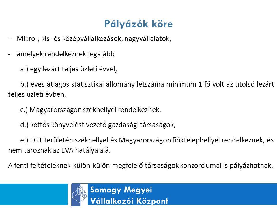 Pályázók köre Somogy Megyei Vállalkozói Központ -Mikro-, kis- és középvállalkozások, nagyvállalatok, -amelyek rendelkeznek legalább a.) egy lezárt teljes üzleti évvel, b.) éves átlagos statisztikai állomány létszáma minimum 1 fő volt az utolsó lezárt teljes üzleti évben, c.) Magyarországon székhellyel rendelkeznek, d.) kettős könyvelést vezető gazdasági társaságok, e.) EGT területén székhellyel és Magyarországon fióktelephellyel rendelkeznek, és nem taroznak az EVA hatálya alá.