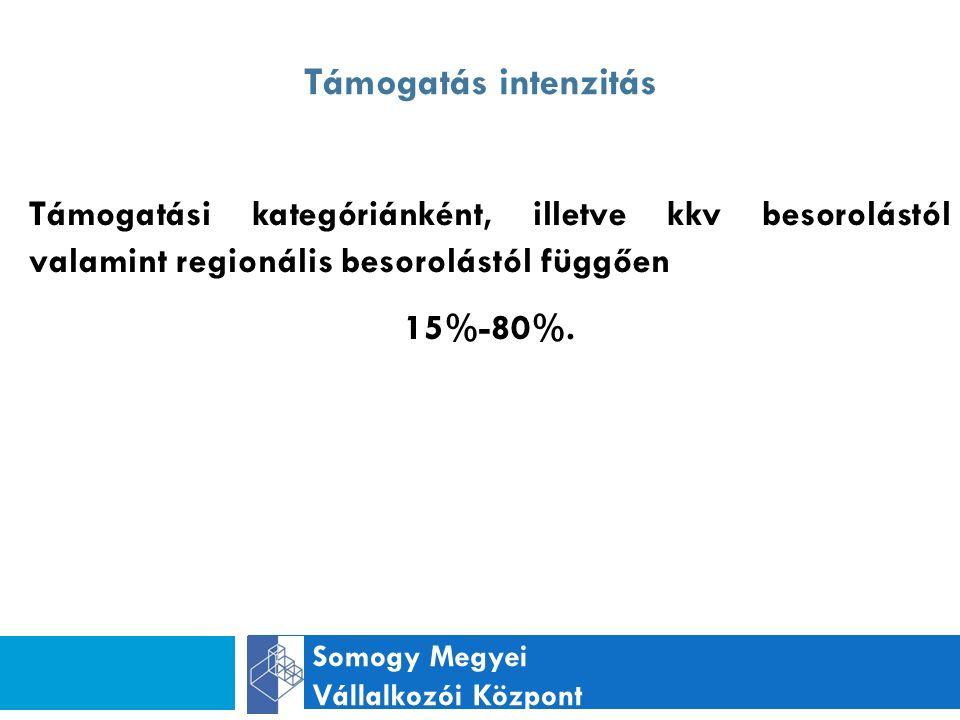 Támogatás intenzitás Somogy Megyei Vállalkozói Központ Támogatási kategóriánként, illetve kkv besorolástól valamint regionális besorolástól függően 15%-80%.