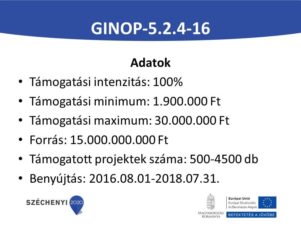 GINOP-5.2.4-16 Adatok Támogatási intenzitás: 100% Támogatási minimum: 1.900.000 Ft Támogatási maximum: 30.000.000 Ft Forrás: 15.000.000.000 Ft Támogatott projektek száma: 500-4500 db Benyújtás: 2016.08.01-2018.07.31.