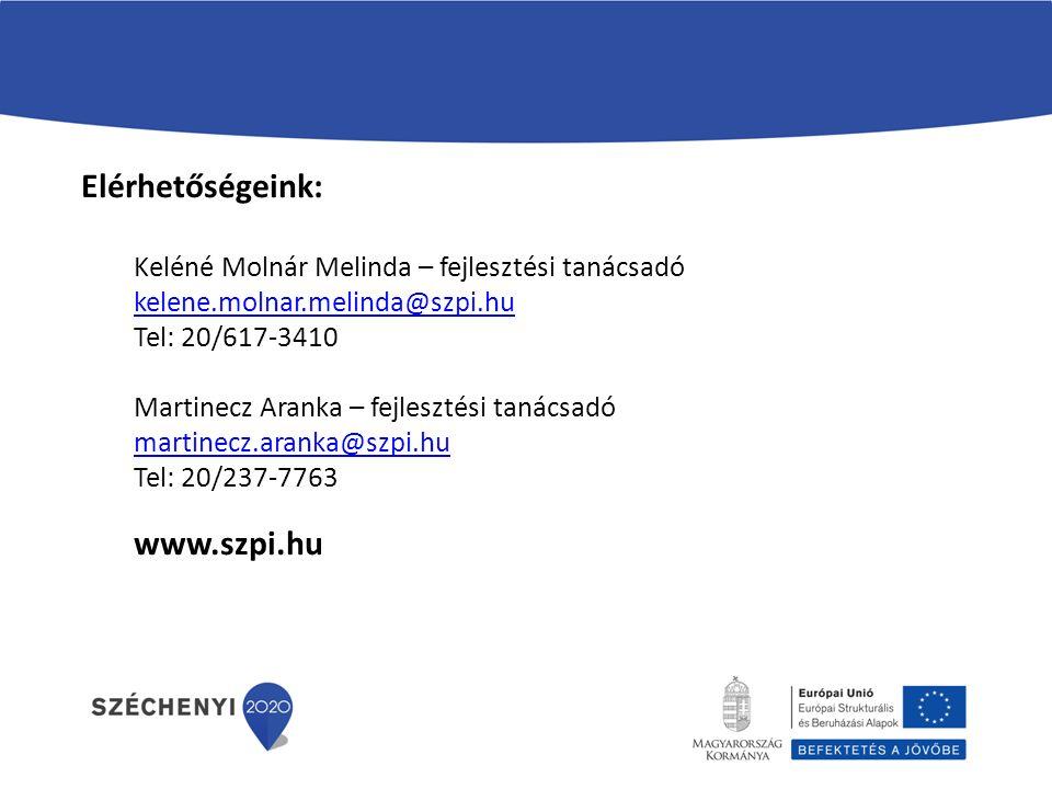 Elérhetőségeink: Keléné Molnár Melinda – fejlesztési tanácsadó kelene.molnar.melinda@szpi.hu Tel: 20/617-3410 Martinecz Aranka – fejlesztési tanácsadó martinecz.aranka@szpi.hu Tel: 20/237-7763 www.szpi.hu