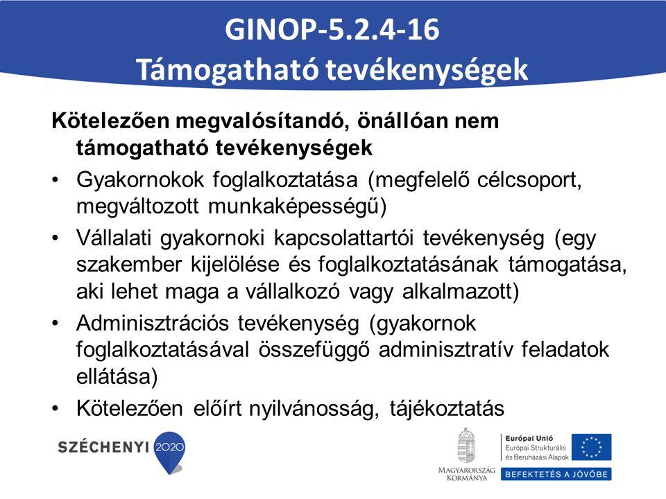 GINOP-5.2.4-16 Támogatható tevékenységek Kötelezően megvalósítandó, önállóan nem támogatható tevékenységek Gyakornokok foglalkoztatása (megfelelő célcsoport, megváltozott munkaképességű) Vállalati gyakornoki kapcsolattartói tevékenység (egy szakember kijelölése és foglalkoztatásának támogatása, aki lehet maga a vállalkozó vagy alkalmazott) Adminisztrációs tevékenység (gyakornok foglalkoztatásával összefüggő adminisztratív feladatok ellátása) Kötelezően előírt nyilvánosság, tájékoztatás