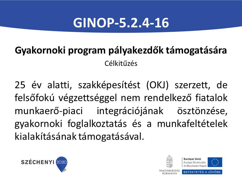 GINOP-5.2.4-16 Gyakornoki program pályakezdők támogatására Célkitűzés 25 év alatti, szakképesítést (OKJ) szerzett, de felsőfokú végzettséggel nem rendelkező fiatalok munkaerő-piaci integrációjának ösztönzése, gyakornoki foglalkoztatás és a munkafeltételek kialakításának támogatásával.