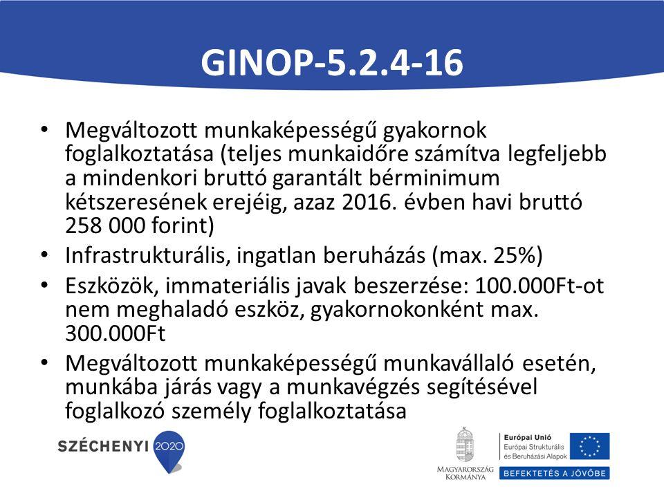 GINOP-5.2.4-16 Megváltozott munkaképességű gyakornok foglalkoztatása (teljes munkaidőre számítva legfeljebb a mindenkori bruttó garantált bérminimum kétszeresének erejéig, azaz 2016.