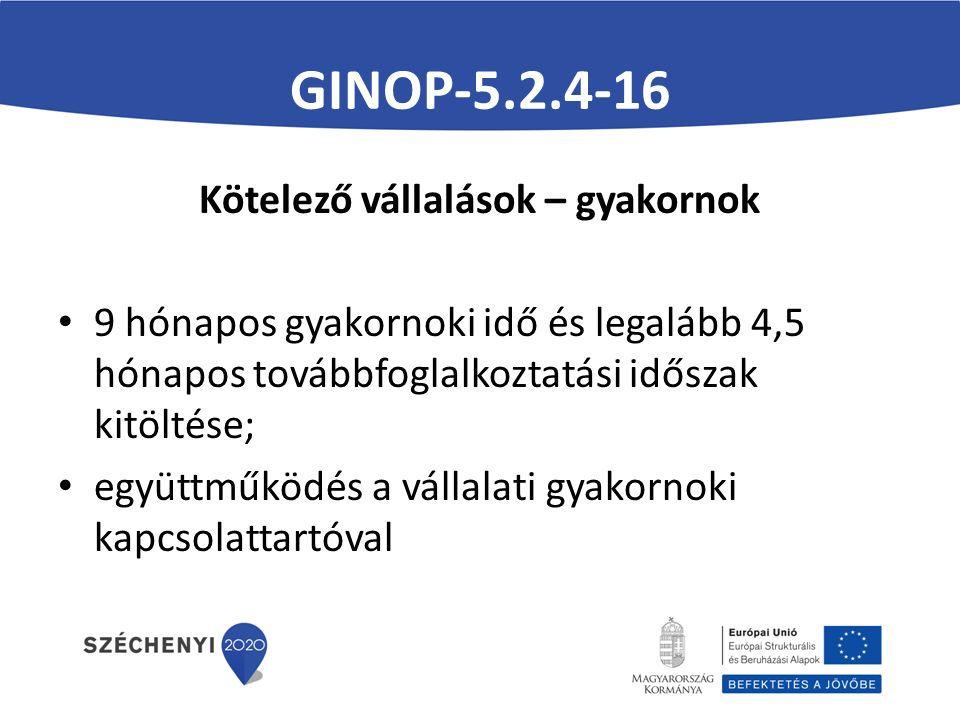 GINOP-5.2.4-16 Kötelező vállalások – gyakornok 9 hónapos gyakornoki idő és legalább 4,5 hónapos továbbfoglalkoztatási időszak kitöltése; együttműködés a vállalati gyakornoki kapcsolattartóval