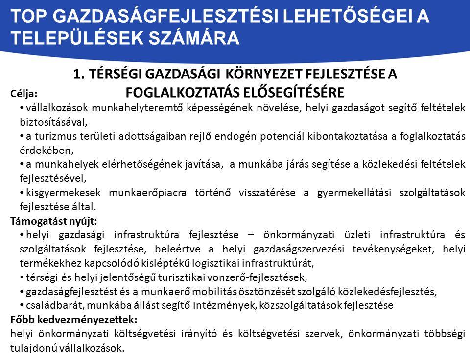 TOP GAZDASÁGFEJLESZTÉSI LEHETŐSÉGEI A TELEPÜLÉSEK SZÁMÁRA 1.