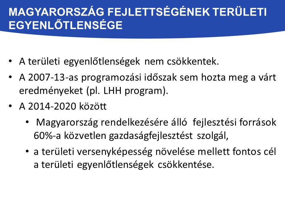 A területi egyenlőtlenségek nem csökkentek. A 2007-13-as programozási időszak sem hozta meg a várt eredményeket (pl. LHH program). A 2014-2020 között