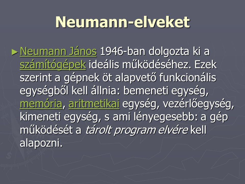 Neumann-elveket ► Neumann János 1946-ban dolgozta ki a számítógépek ideális működéséhez.