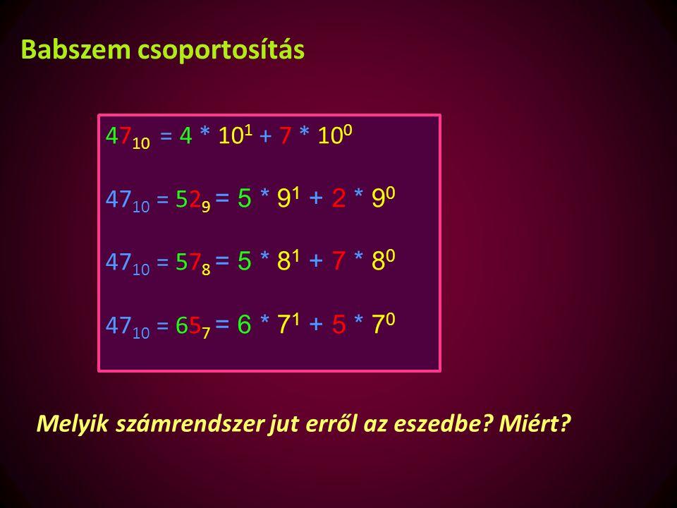 Átalakítás bináris jelekké Egy szám értékét a benne szereplő számjegyek és azok helyi értéke adja meg.