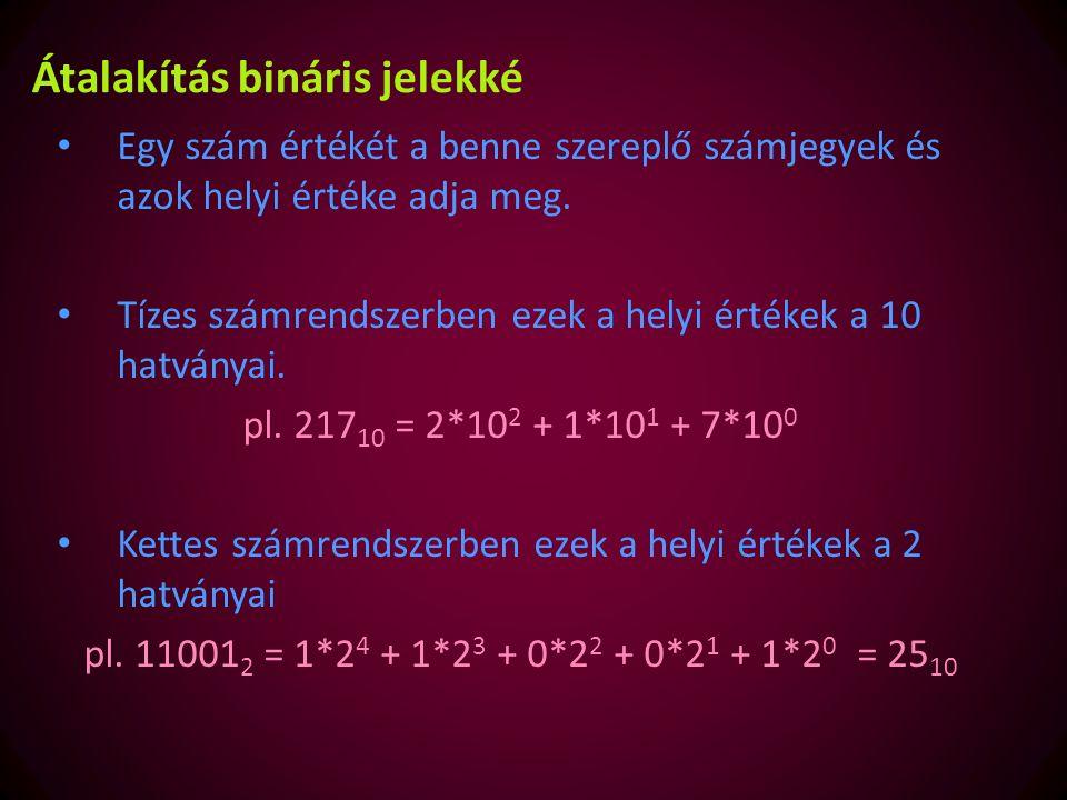 10-es számrendszerből átváltás 2-es számrendszerbe 217:2 2171 1080 540 271 131 60 31 11 0 A 2-vel való maradékos osztást kell alkalmazni A bal oldalon levő számok 2- vel való osztását addig kell végezni, amíg a hányados nulla nem lesz.