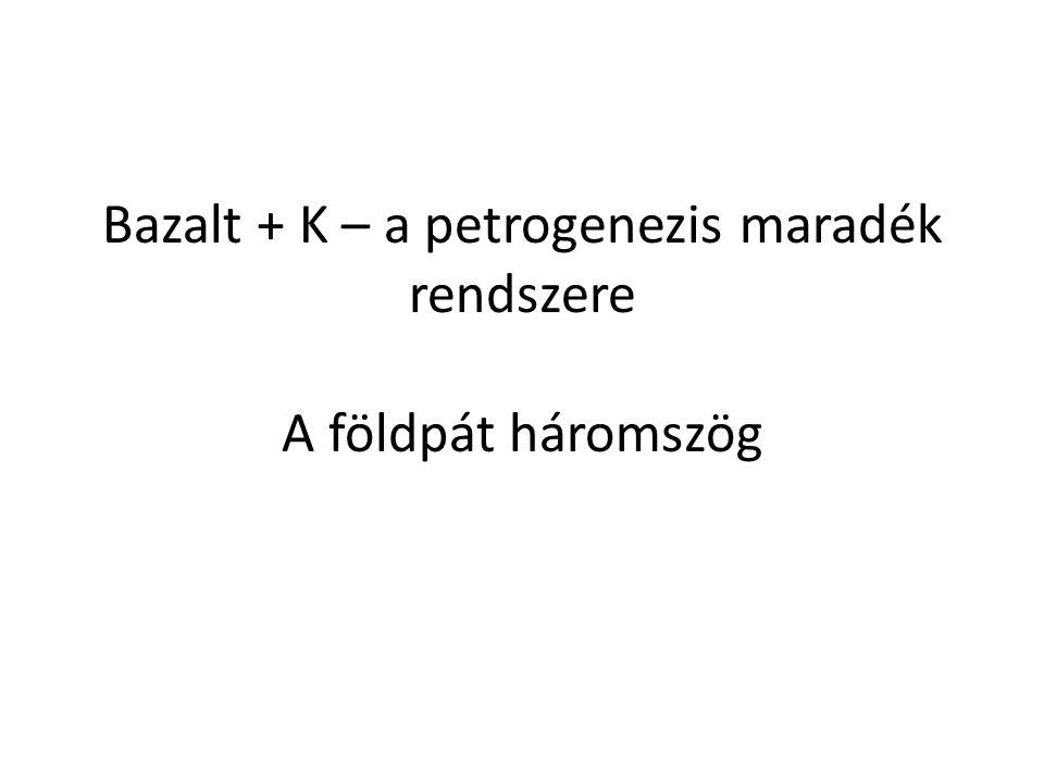 """Bazaltos olvadék + K Hatásai: – Enyhén csökkenti a hőmérsékletet – Ortoklász normatív komponens, KAlSi 3 O 8 (olvadékokban szanidin) megjelenése """"maradék rendszer – 1.46 A ionrádiusz Erősen inkompatibilis, a korán kristályosodó fázisokból kiszorul (olivin, piroxének) A frakc."""