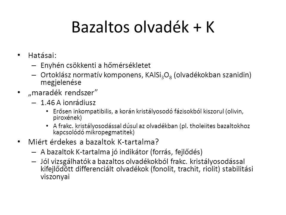 """Bazaltos olvadék + K Hatásai: – Enyhén csökkenti a hőmérsékletet – Ortoklász normatív komponens, KAlSi 3 O 8 (olvadékokban szanidin) megjelenése """"mara"""