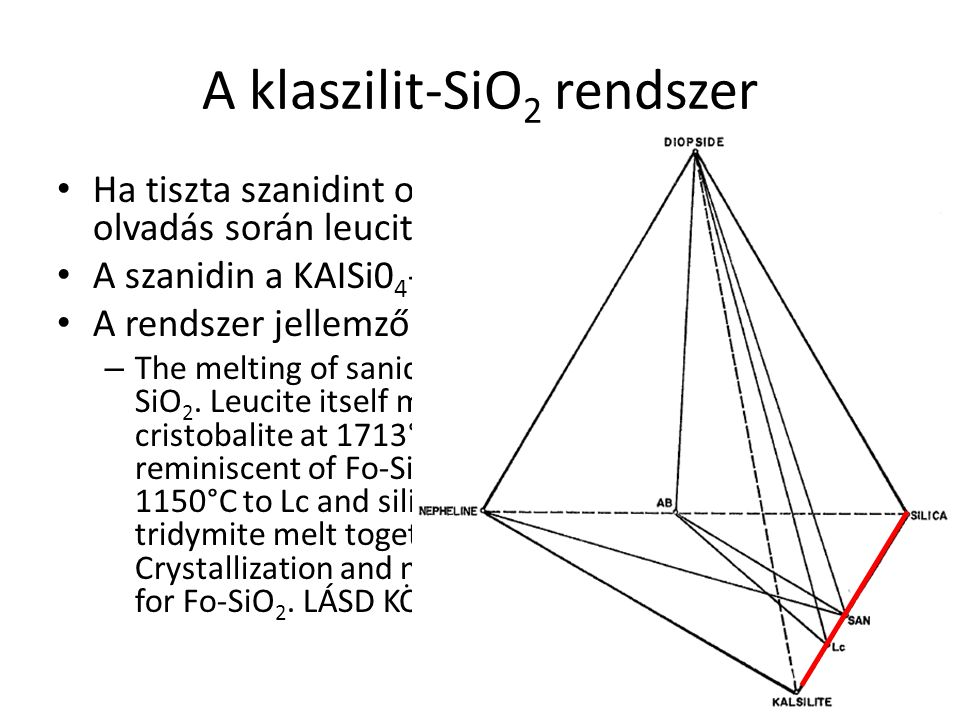 """A Nefelin – Kalszilit – Kvarc rendszer """"Termális völgy ~Riolit ~Fonolit ~Trachit These minima closely represent the natural residua from fractionation of, respectively, tholeiites, critical plane basalts, and alkali basalts, and it is for this reason that Bowen aptly called the system Ne-Ke-Si0 2 petrogeny s residua system. -large primary field of leucite solid solution, which overlaps the alkali feldspar join; -the large fields of nepheline and feldspar solid solution"""