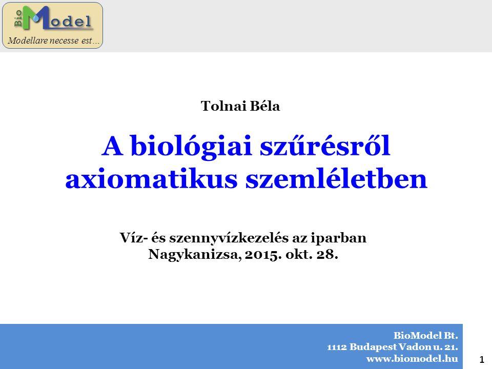 A biológiai szűrésről axiomatikus szemléletben BioModel Bt. 1112 Budapest Vadon u. 21. www.biomodel.hu 1 Modellare necesse est… Tolnai Béla Víz- és sz