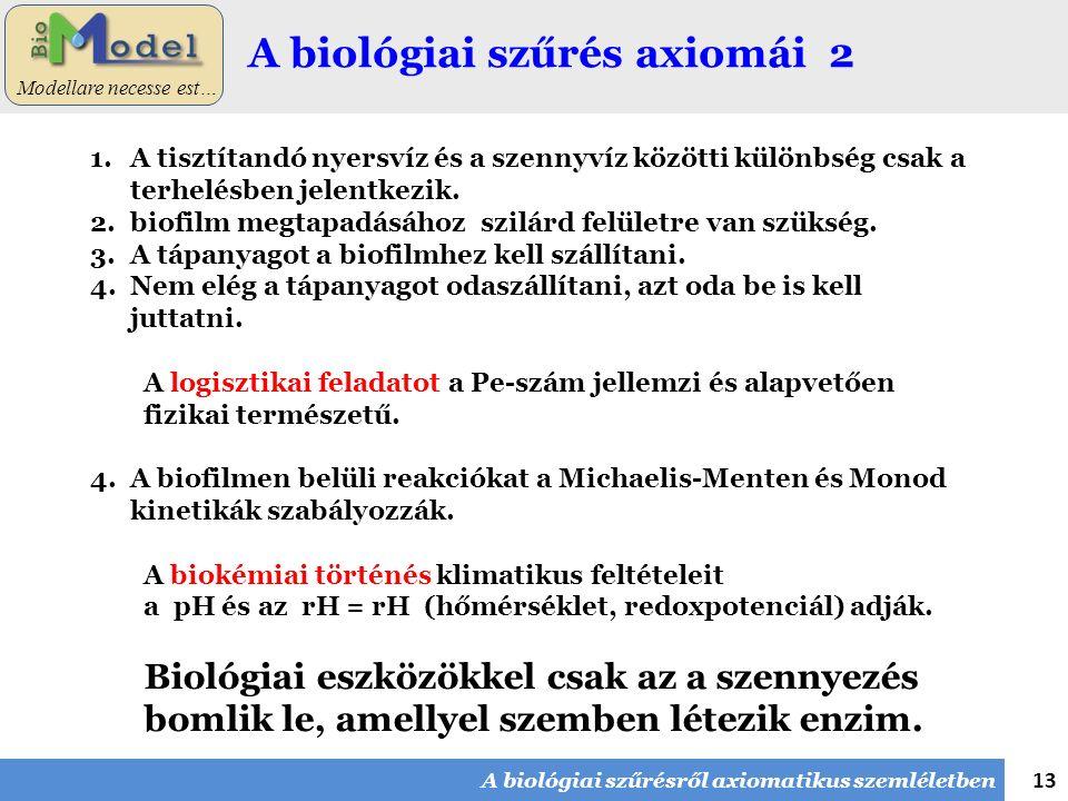 13 Modellare necesse est… A biológiai szűrés axiomái 2 1.A tisztítandó nyersvíz és a szennyvíz közötti különbség csak a terhelésben jelentkezik. 2.bio