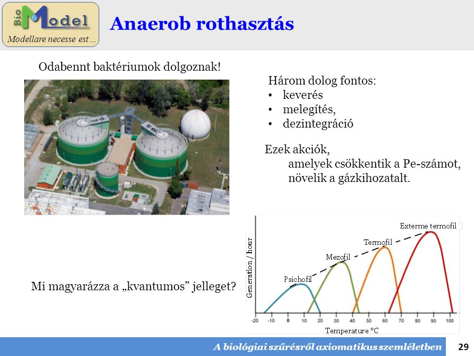 29 Modellare necesse est… Anaerob rothasztás Ezek akciók, amelyek csökkentik a Pe-számot, növelik a gázkihozatalt. Három dolog fontos: keverés melegít