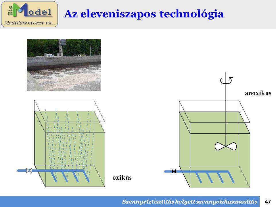 47 Modellare necesse est… Az eleveniszapos technológia oxikus anoxikus Szennyvíztisztítás helyett szennyvízhasznosítás
