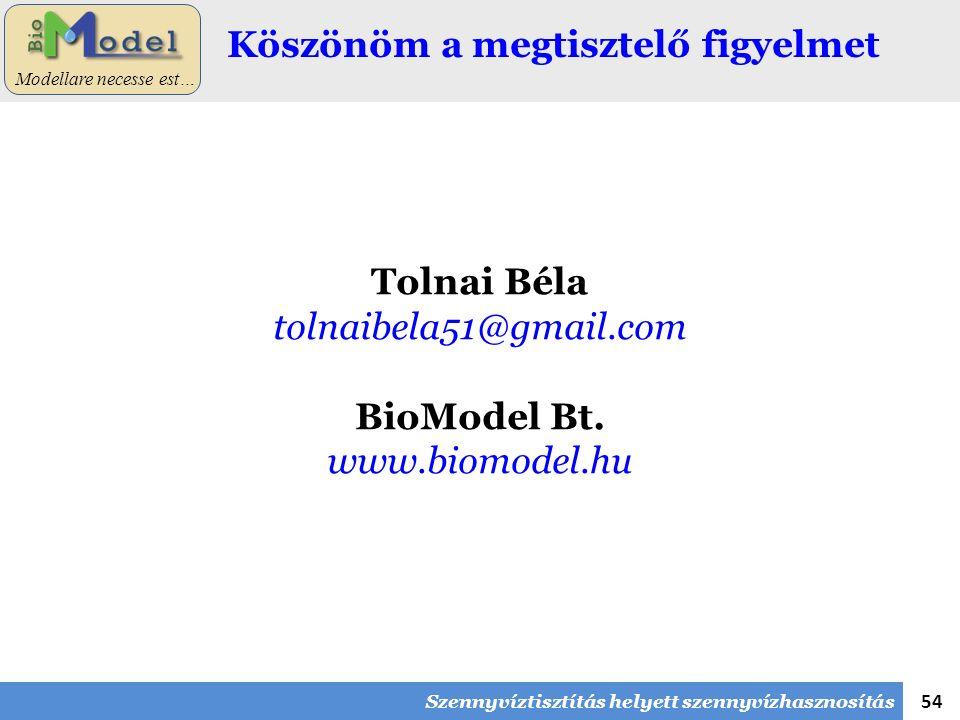 54 Modellare necesse est… Köszönöm a megtisztelő figyelmet Tolnai Béla tolnaibela51@gmail.com BioModel Bt. www.biomodel.hu Szennyvíztisztítás helyett