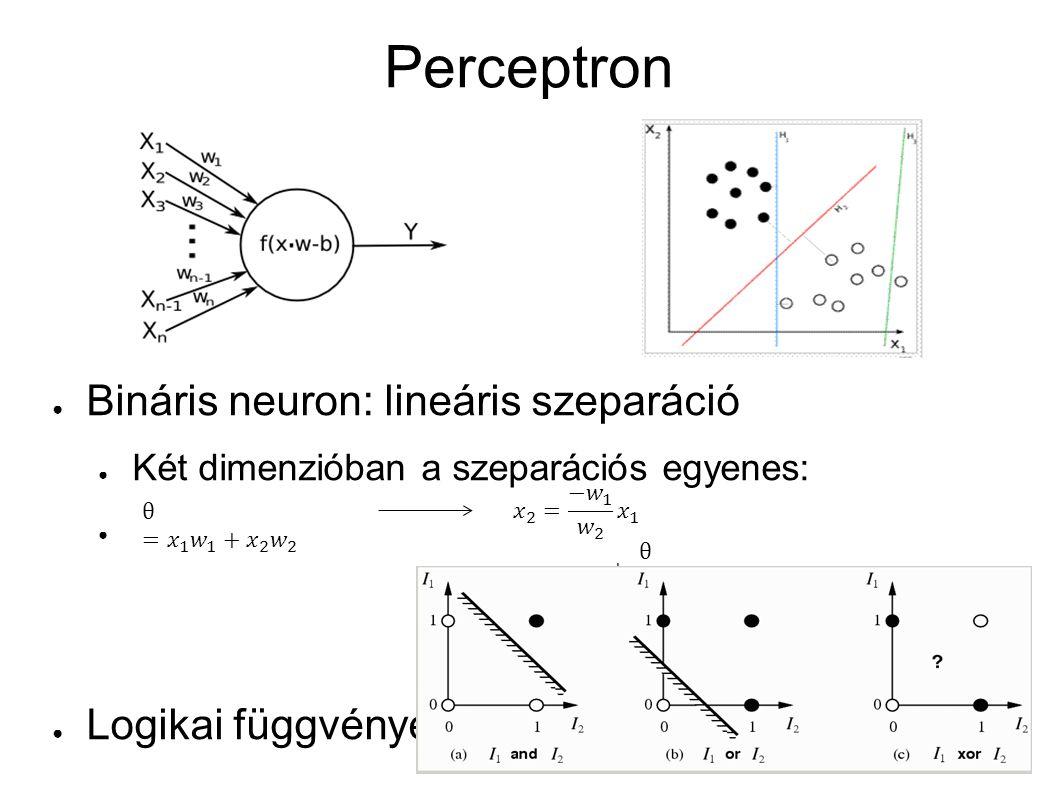 Perceptron ● Bináris neuron: lineáris szeparáció ● Két dimenzióban a szeparációs egyenes: ● Logikai függvények
