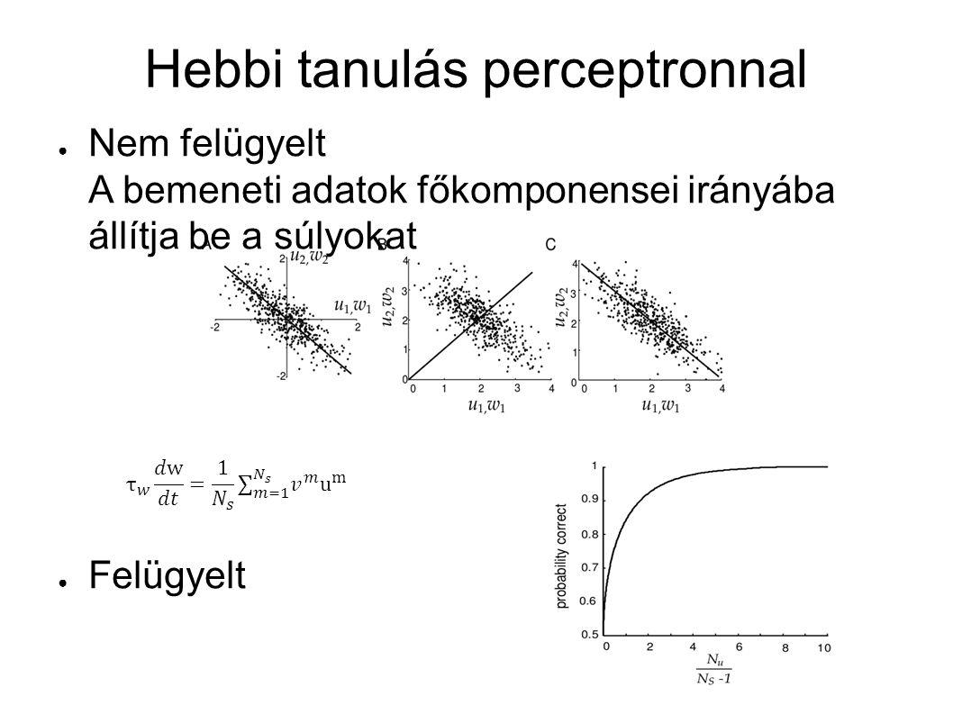 Hebbi tanulás perceptronnal ● Nem felügyelt A bemeneti adatok főkomponensei irányába állítja be a súlyokat ● Felügyelt ● A kimenetet is meghatározzuk
